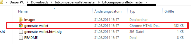 Generate Wallet Datei