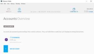 Ethereum Wallet: DIe Ansicht der Accounts
