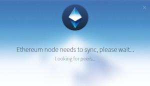 Ethereum Wallet lädt die Blockchain