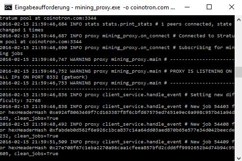 mining_proxy.exe gestartet